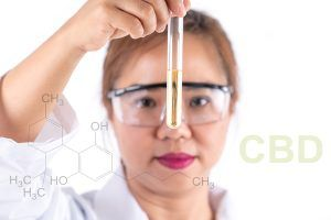 Asian woman scientific research looking cbd solution in tube.