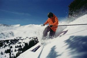 A professional skier in Silverthorne, CO.